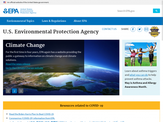 Tablet screenshot of www.epa.gov