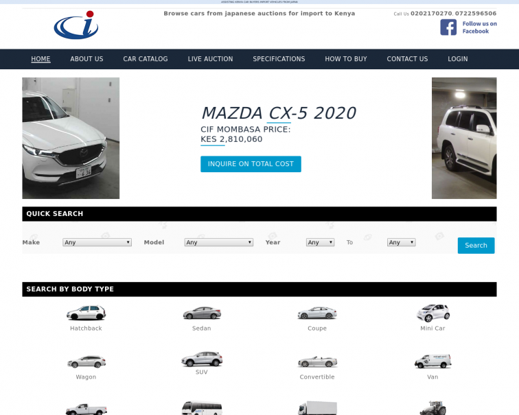 Screenshot of www.carimports.co.ke