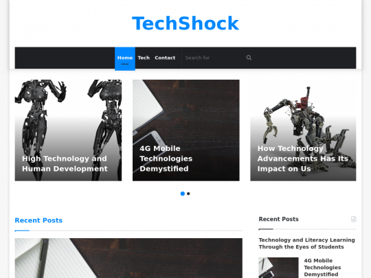 Tablet screenshot of techshock.net
