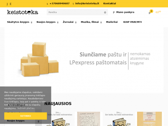 Tablet screenshot of www.keistoteka.lt
