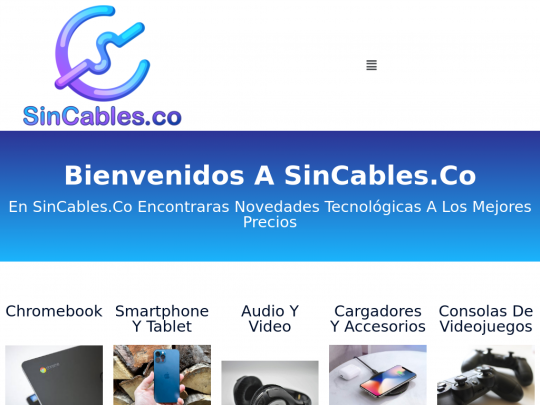 Tablet screenshot of sincables.co
