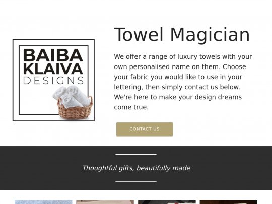 Tablet screenshot of www.baibaklaivadesigns.co.uk