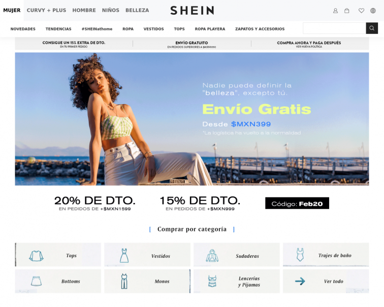 Screenshot of www.shein.com.mx