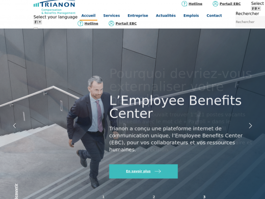 Tablet screenshot of www.trianon.ch
