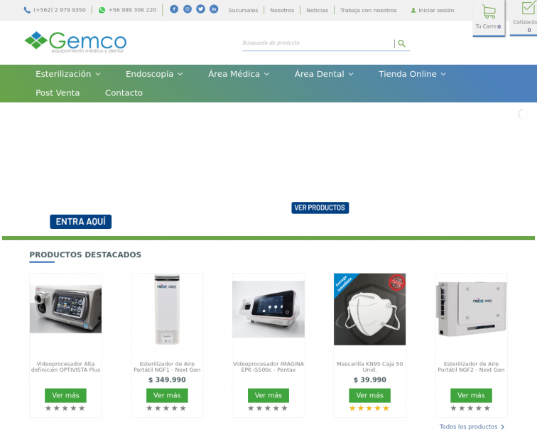 Screenshot of www.gemco.cl