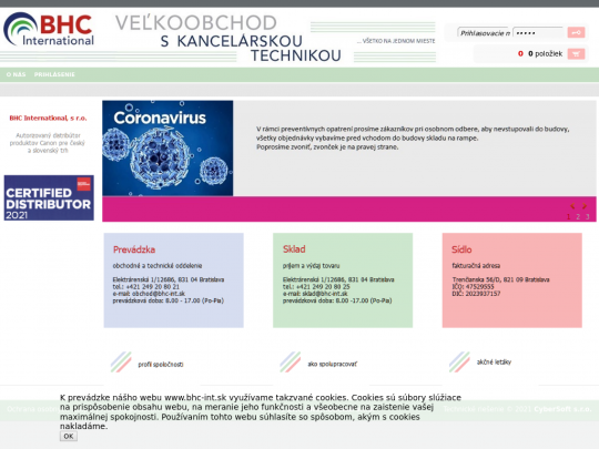 Tablet screenshot of www.bhc-int.sk