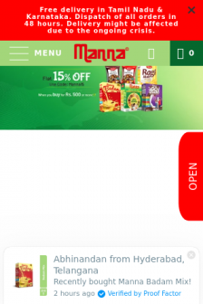 Mobile screenshot of www.mannafoods.in
