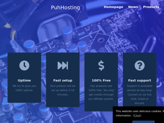 Tablet screenshot of www.puh.hosting
