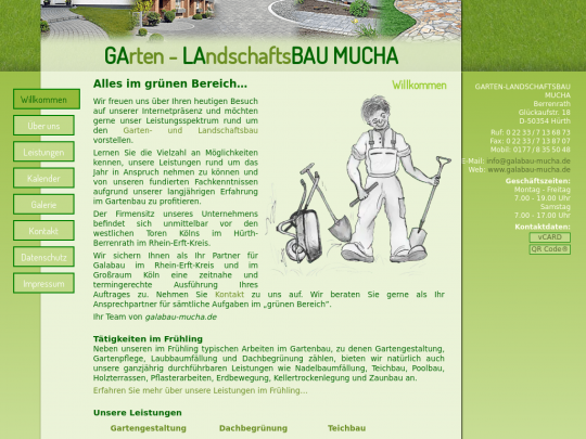 Tablet screenshot of www.galabau-mucha.de