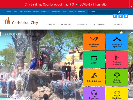 Tablet screenshot of www.cathedralcity.gov