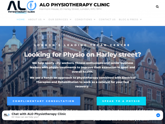 Tablet screenshot of alo-physiotherapy.co.uk