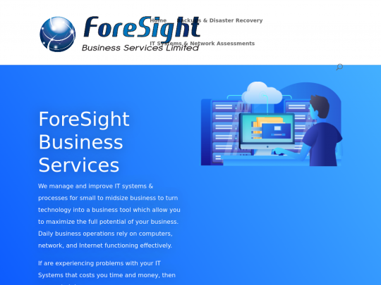 Tablet screenshot of www.foresightbusinessservices.co.uk