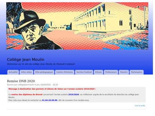 Tablet screenshot of collegejeanmoulin.fr