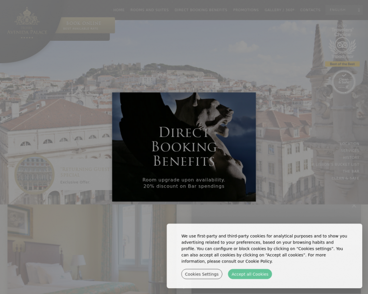 Screenshot of www.hotelavenidapalace.pt