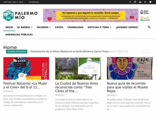 Tablet screenshot of www.palermomio.com.ar