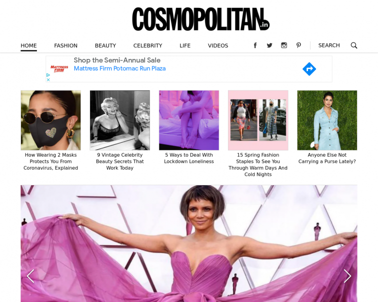Screenshot of www.cosmopolitan.in