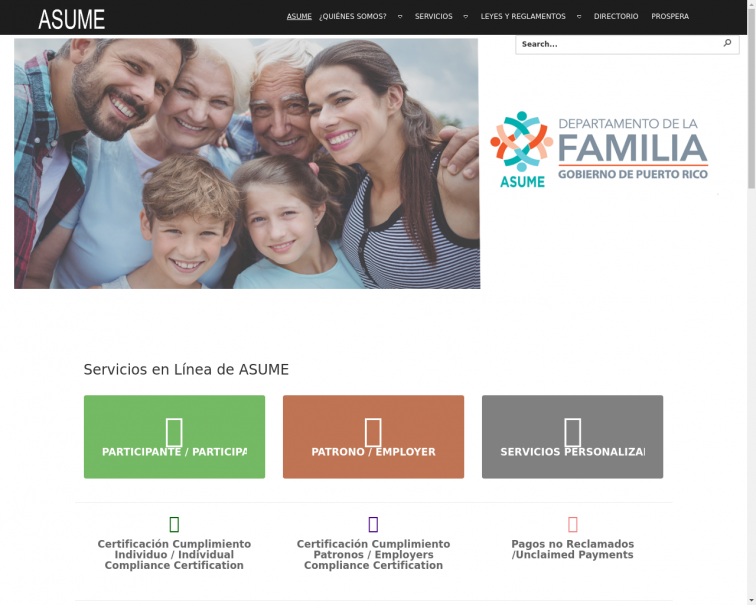Screenshot of www.asume.pr.gov