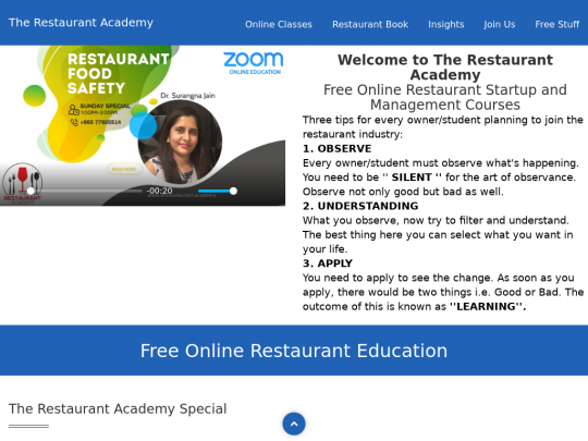 Tablet screenshot of therestaurant.academy