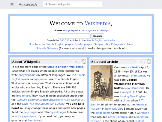 Tablet screenshot of simple.wikipedia.org