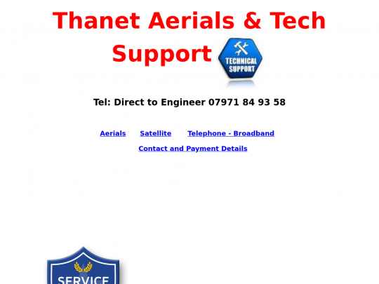 Tablet screenshot of www.thanet-aerials.co.uk