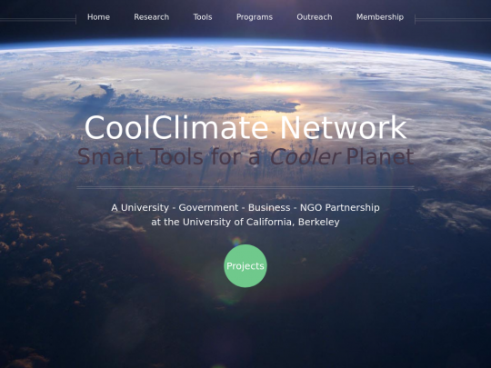 Tablet screenshot of coolclimate.org