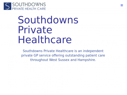 Tablet screenshot of southdownsprivatehealthcare.co.uk