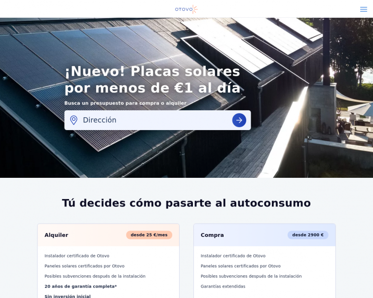 Screenshot of www.otovo.es