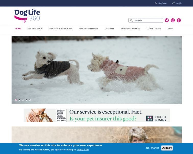 Screenshot of doglife360.co.uk