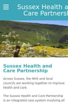 Mobile screenshot of www.sussexhealthandcare.uk