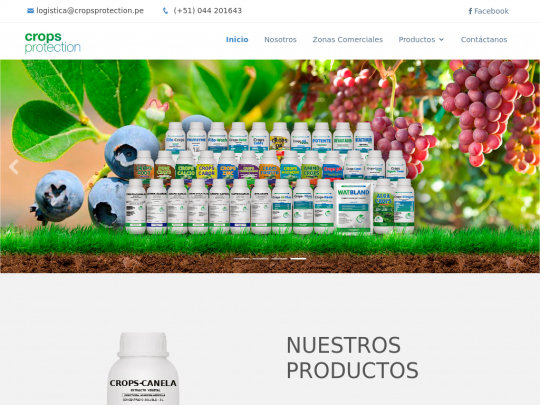 Tablet screenshot of www.cropsprotection.pe