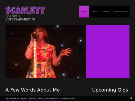 Tablet screenshot of www.scarlettsings.co.uk