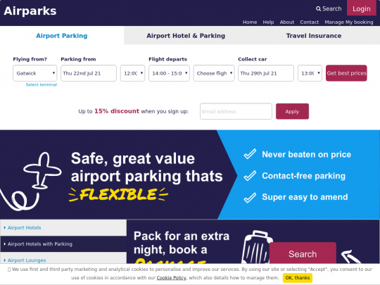 Tablet screenshot of www.airparks.co.uk
