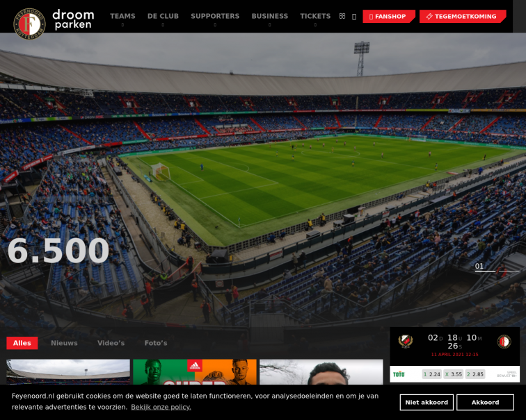 Screenshot of www.feyenoord.nl