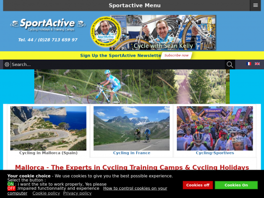 Tablet screenshot of sportactive.net