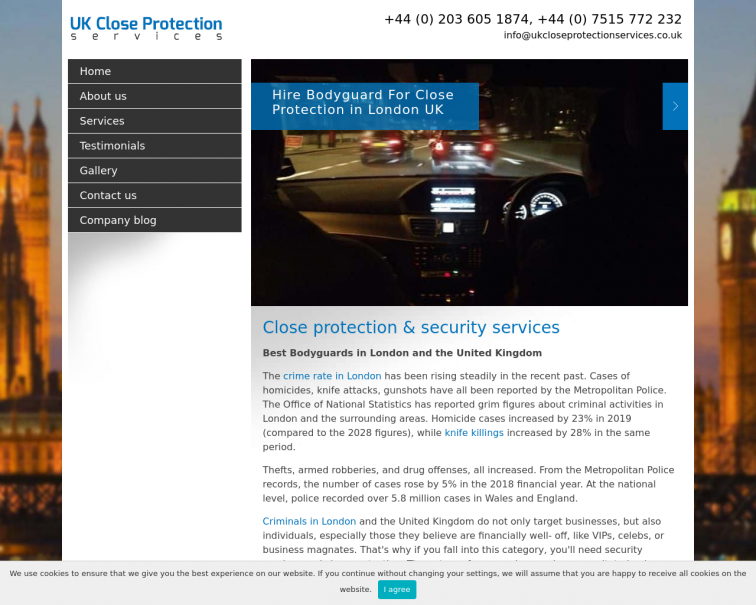 Screenshot of ukcloseprotectionservices.co.uk