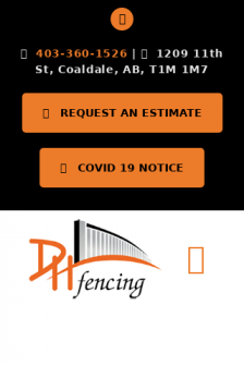 Mobile screenshot of www.dhfencing.ca