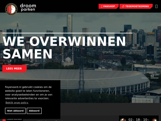 Tablet screenshot of www.feyenoord.nl