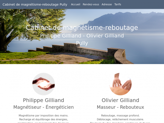 Tablet screenshot of www.gilliand-magnetiseur-rebouteux.ch