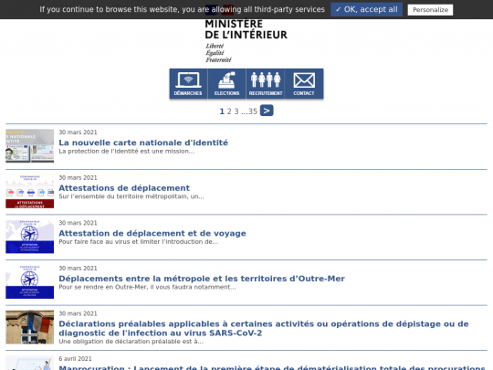 Tablet screenshot of www.interieur.gouv.fr