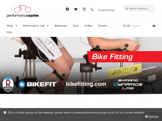 Tablet screenshot of www.performancecycles.co.uk