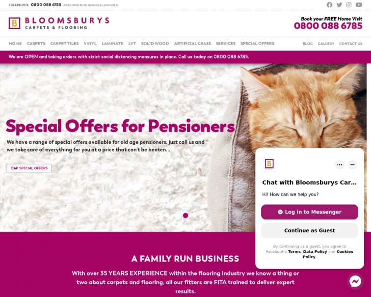 Screenshot of www.bloomsburys.co.uk
