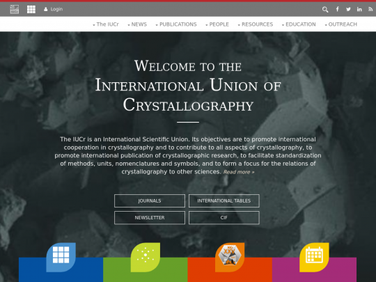 Tablet screenshot of www.iucr.org
