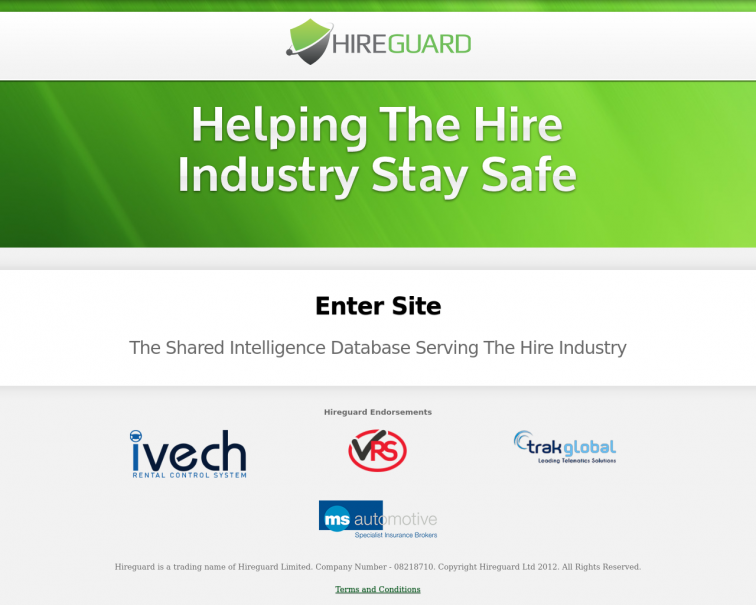 Screenshot of www.hireguard.co.uk