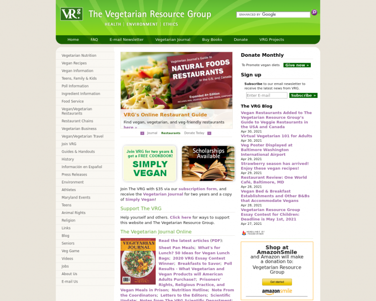 Screenshot of www.vrg.org