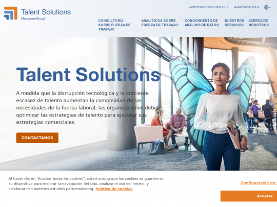 Tablet screenshot of talentsolutions.manpowergroup.com.mx