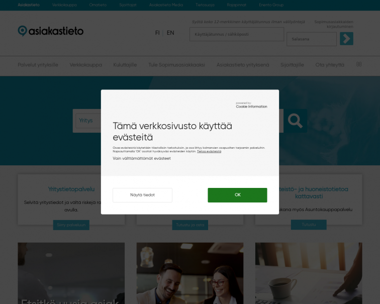 Screenshot of www.asiakastieto.fi