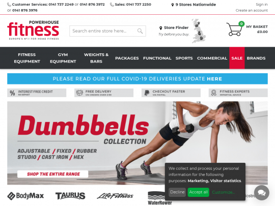 Tablet screenshot of www.powerhouse-fitness.co.uk
