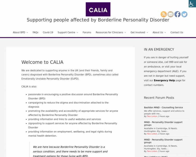 Screenshot of calia.org.uk