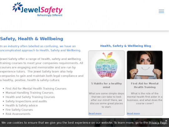 Tablet screenshot of www.jewelsafety.co.uk