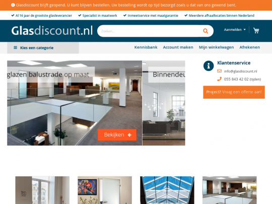 Tablet screenshot of www.glasdiscount.nl